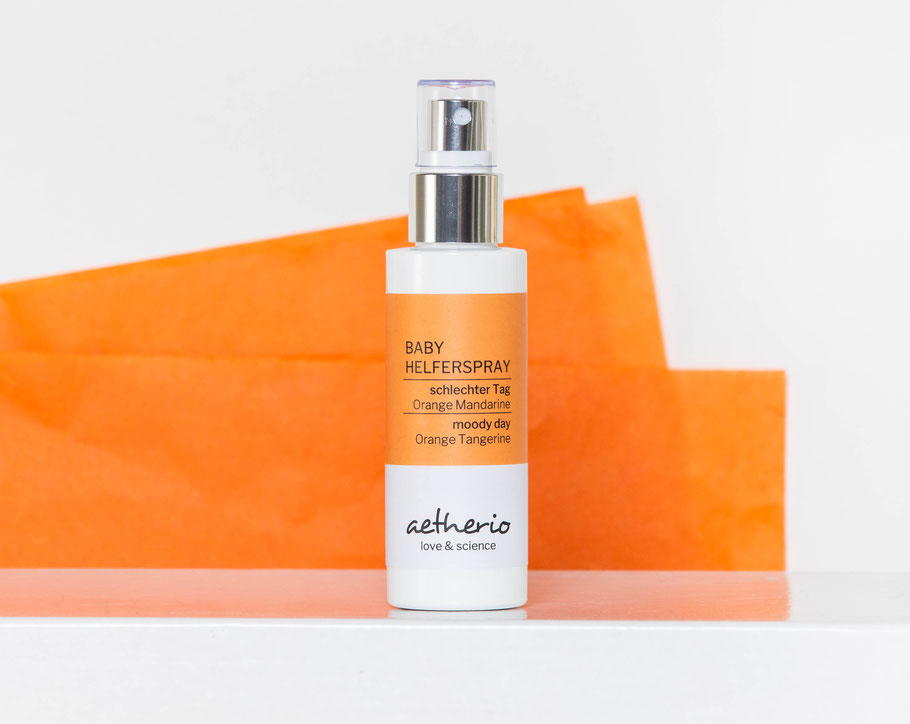Baby Helferspray schlechter Tag mit den ätherischen Zitrusölen Orange und Mandarine - aetherio.de