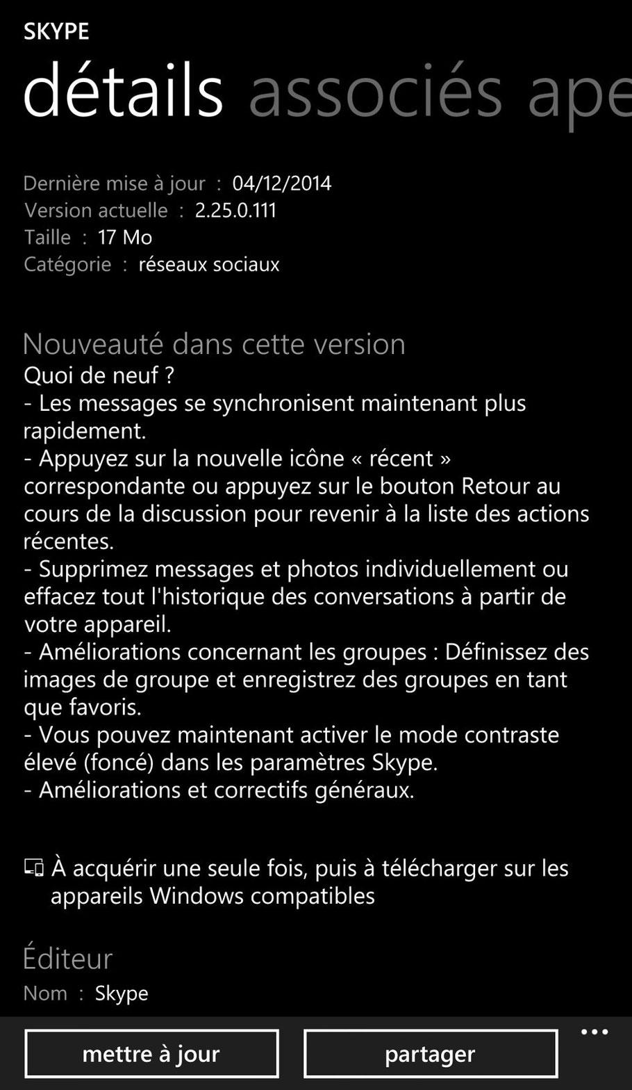 Skype MAJ du 04/12/2014 sur Windows Phone.