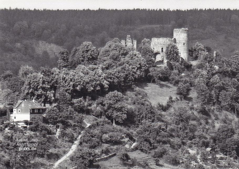Burg und Cafe - Aufnahme aus dem Hause Foto-Fritz, Karlshafen, wohl um 1940/50 (Fotograf Heinrich Fritz ?)