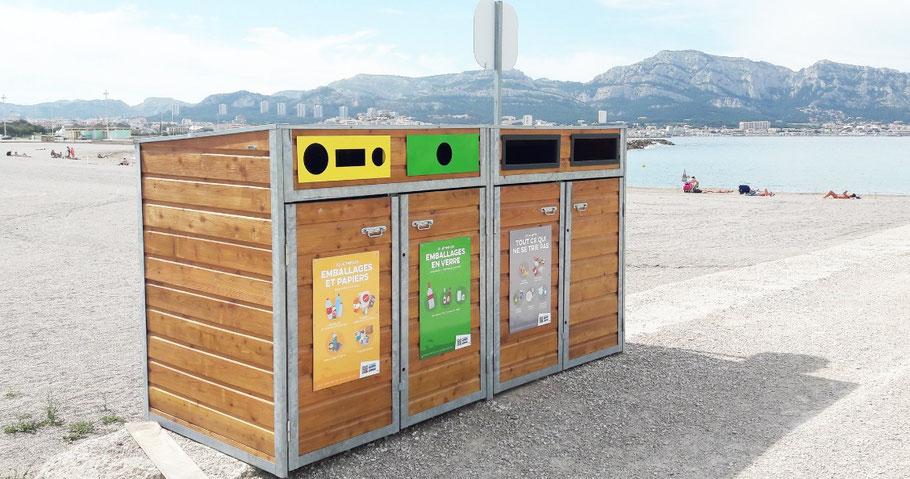 De Juin à Septembre 2018, CITEO a experimenté la suppression des corbeilles sur les plages en installant en parallèle des points de collecte de tri.
