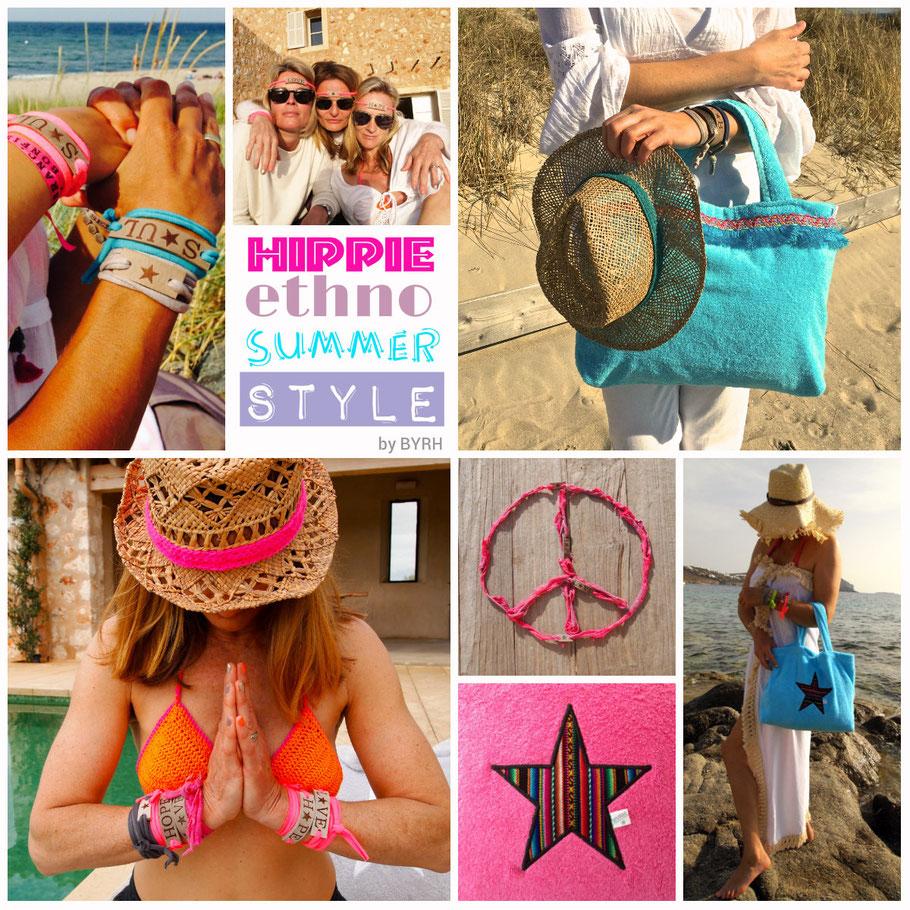 Hippie Ethno Summer Style by BYRH Beach Bags - Strandtaschen aus Frottee mit Stern , Armbänder, Clutch