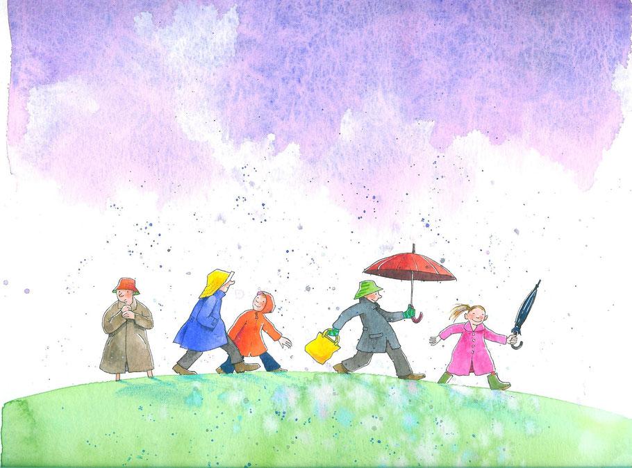 Regen, illustratie Annette Fienieg uit Het regent zonlicht