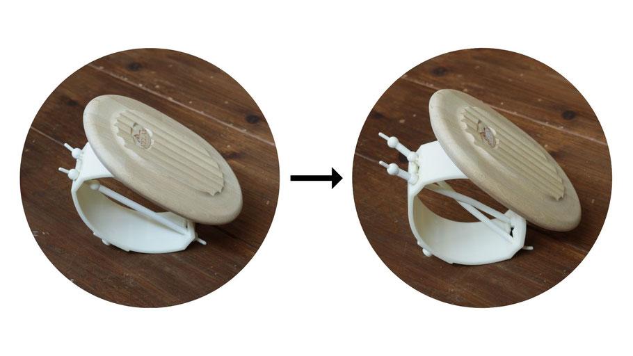 左:二本のピンが平行に配置された無調整状態   右:二本のピンをクロスさせて、更にテンションを加えて硬くなるよう調整