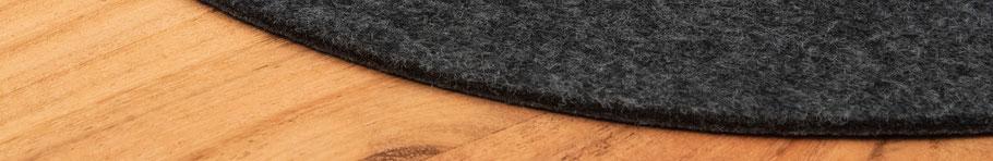 Rob&Raf Tischset Platzset aus Polyester Filz in Graphit, Rund Nahaufnahme Material