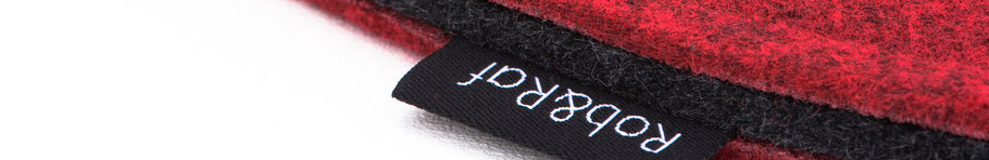 Rob&Raf Sitzkissen Sitzunterlage aus Polyester Filz in Melange Rot, Rund Nahaufnahme Label Material Schichten