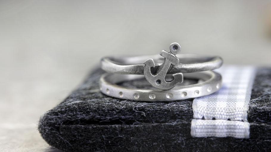 Ring mit Anker, maritimes Ringe Set aus 925 Silber