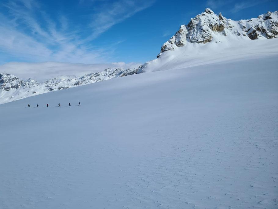 Onderweg naar de Piz Buin over de Ochsentaler Gletsjer