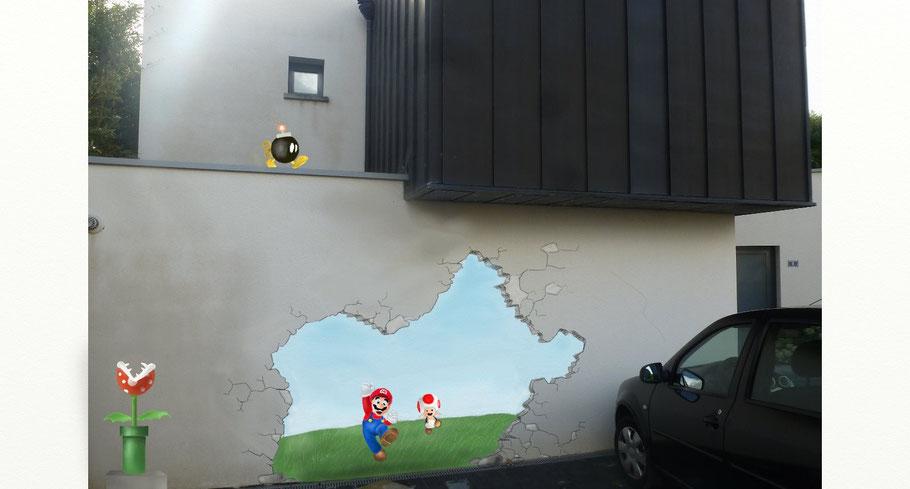 mur troué Mario