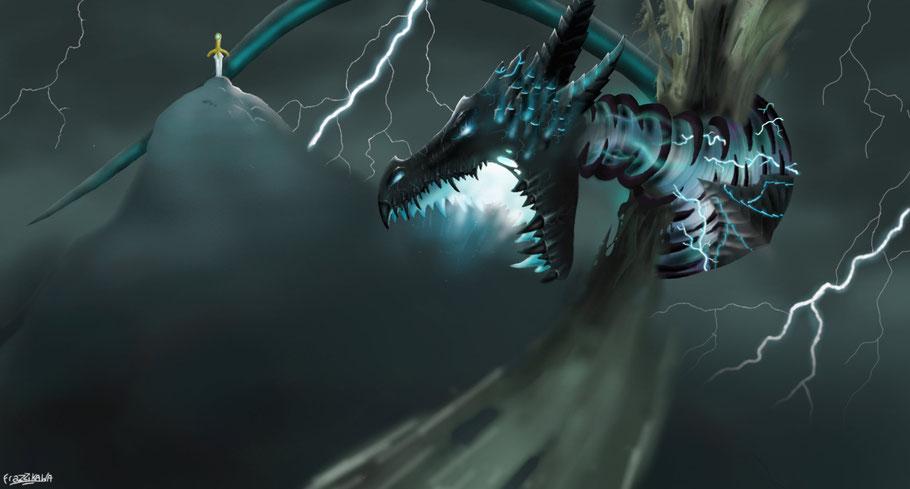 dragon de la foudre et des ténebres c'est l'énemis juré de l'empeureur des dragons Drawrn alias Drago. C'est aussi le gardien de l'épée de foudre qui peut invoquer des éclairs.  12 heures de travail pour faire ce titan de plus de 60 metres de long...