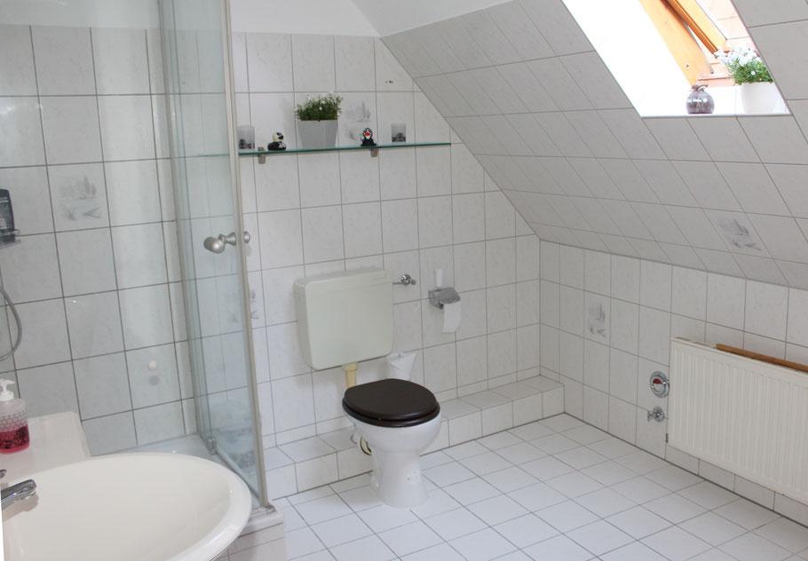 Das Bad der Ferienwohnung und Dusch, Waschbecken und Toilette