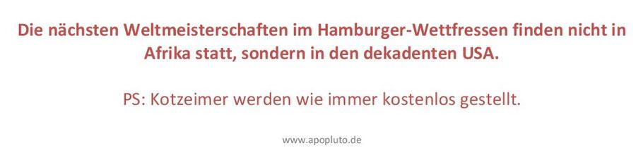 Weltmeisterschaften im Hamburger-Wettfressen.