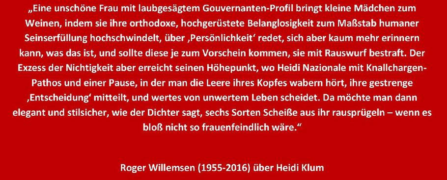 Roger Willemsen (1955-2016) über Heidi Klum.