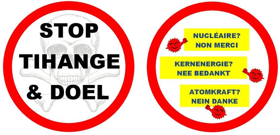 Stop Tihange & Doel. ATOMKRAFT? NEIN DANKE, Demoplakat