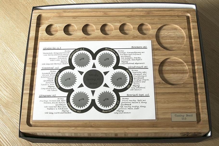 Das Bambus Tasting Holzbrett mit der  Vorlage zu Aroma, Geschmack und Abgang von Whisky