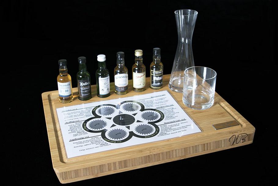 """Der Bambus """"Holz"""" und eine Auswahl an Whisky Sorten - alle Single Malts über die Tasting Vorlage nach Aroma, Geschmack und Abgang beschrieben."""