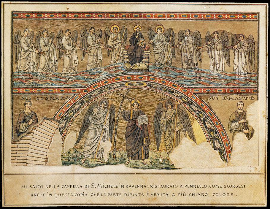 Enrico Pazzi: Zeichnerische Dokumentation des ursprünglichen Zustands des Apsismosaiks aus San Michele in Ravenna. 1843. Aquarell
