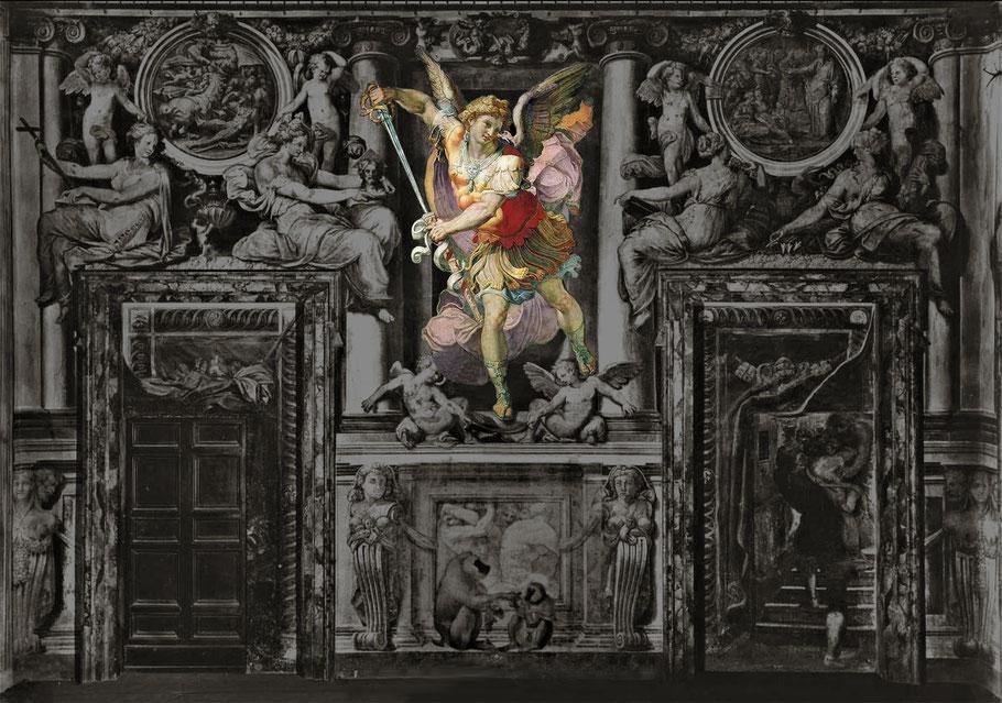 Rom, Castel Sant'Angelo, Sala Paolina. Entwurf der Wanddekoration von PERIN DEL VAGA. 1545–47