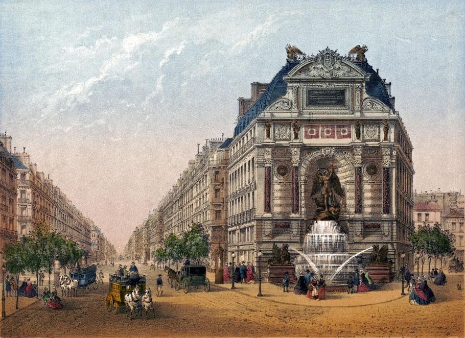 Charles Rivière, Fontaine Saint-Michel, Paris. Nach 1860. Farblithographie