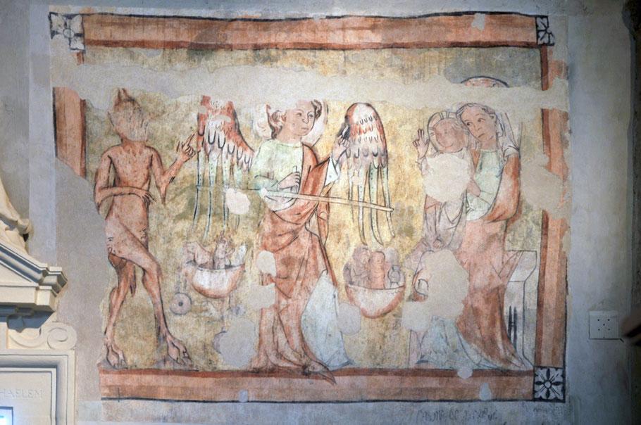 Der Heilige Michael als Seelenwäger zwischen Satan und der Madonna. Um 1350. Fresko. Wien, Michaelerkirche. Photo: Zac· 2014