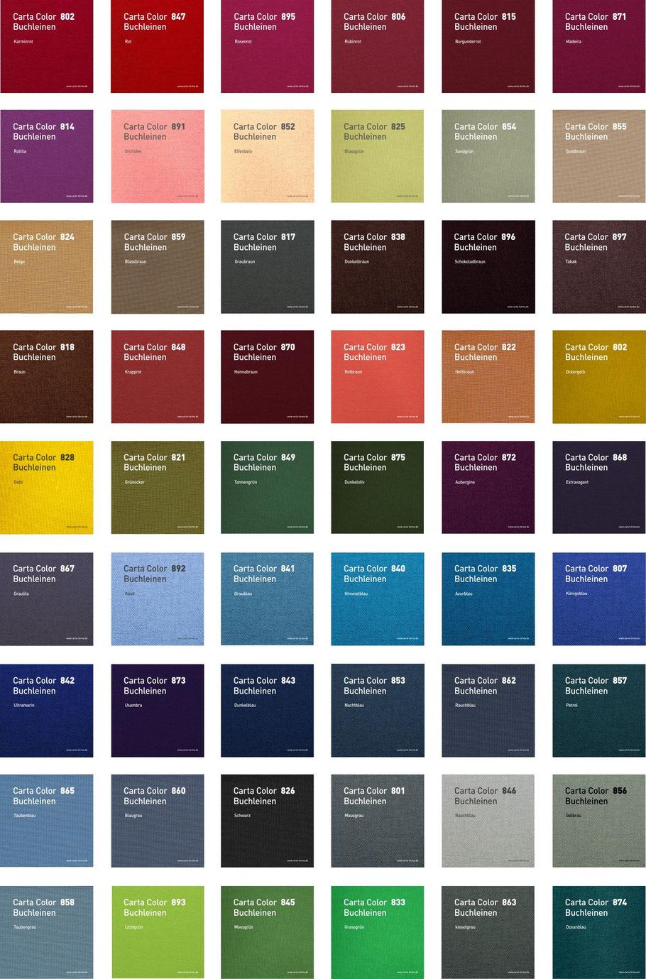 CARTA FORMA Farbmuster Buchbindungen Bucheinbandstoff Buchleinen
