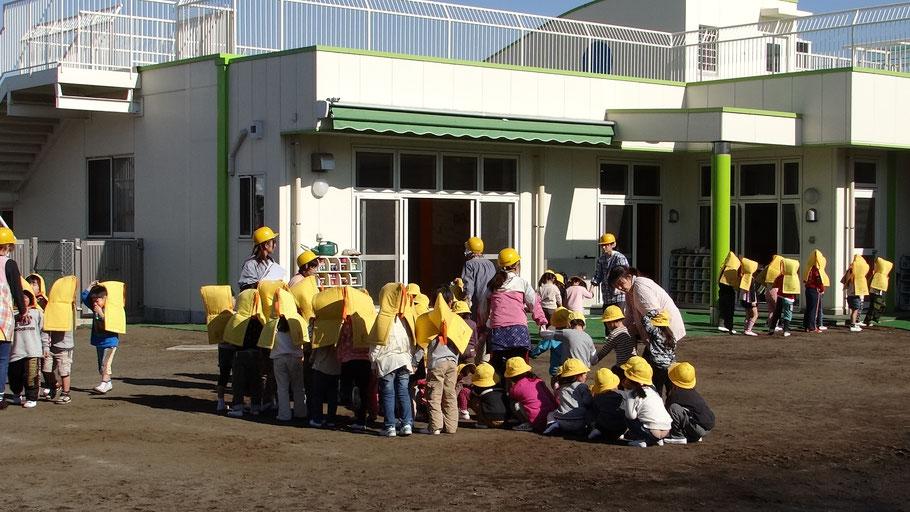 第1回 座間市いっせい防災行動訓練(シェイクアウト訓練)市内やなせ幼稚園