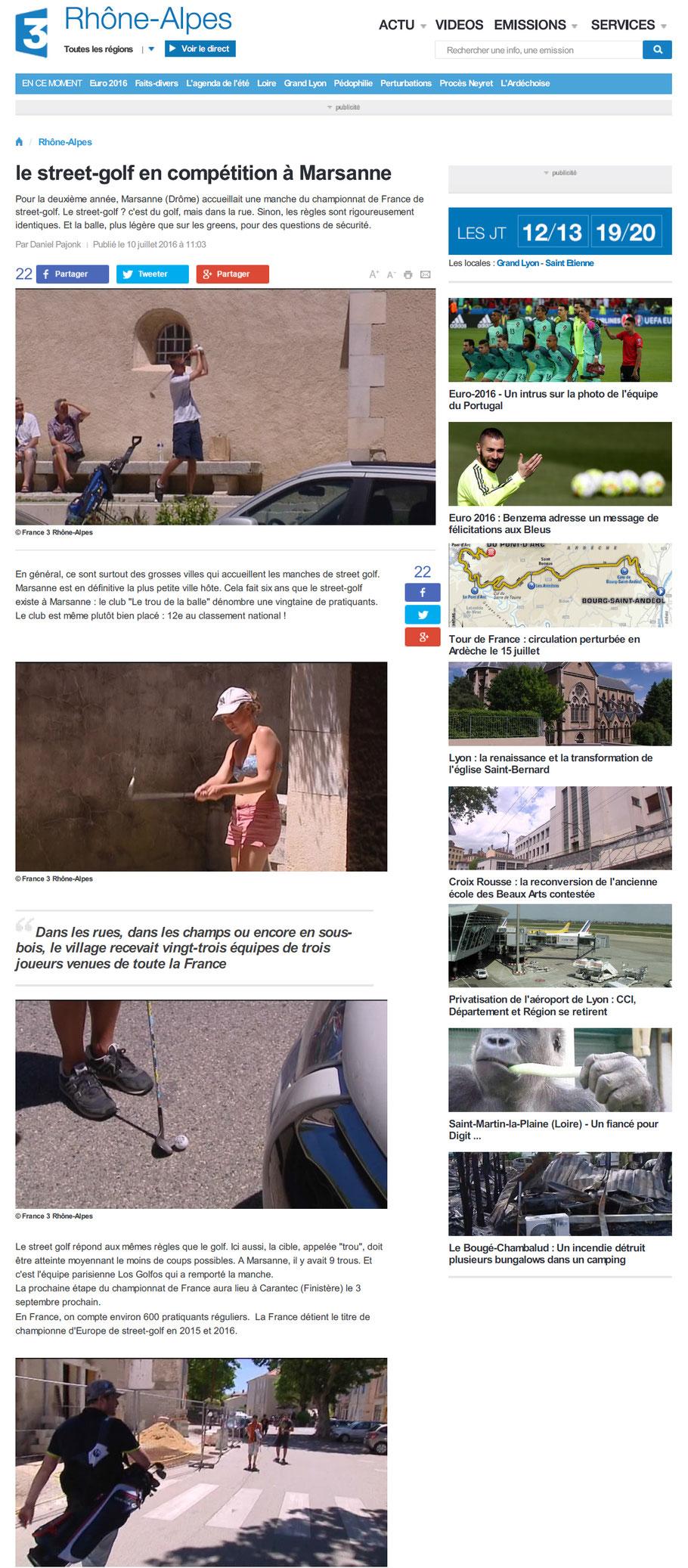 Article France 3 Rhône Alpes Lyon street golf