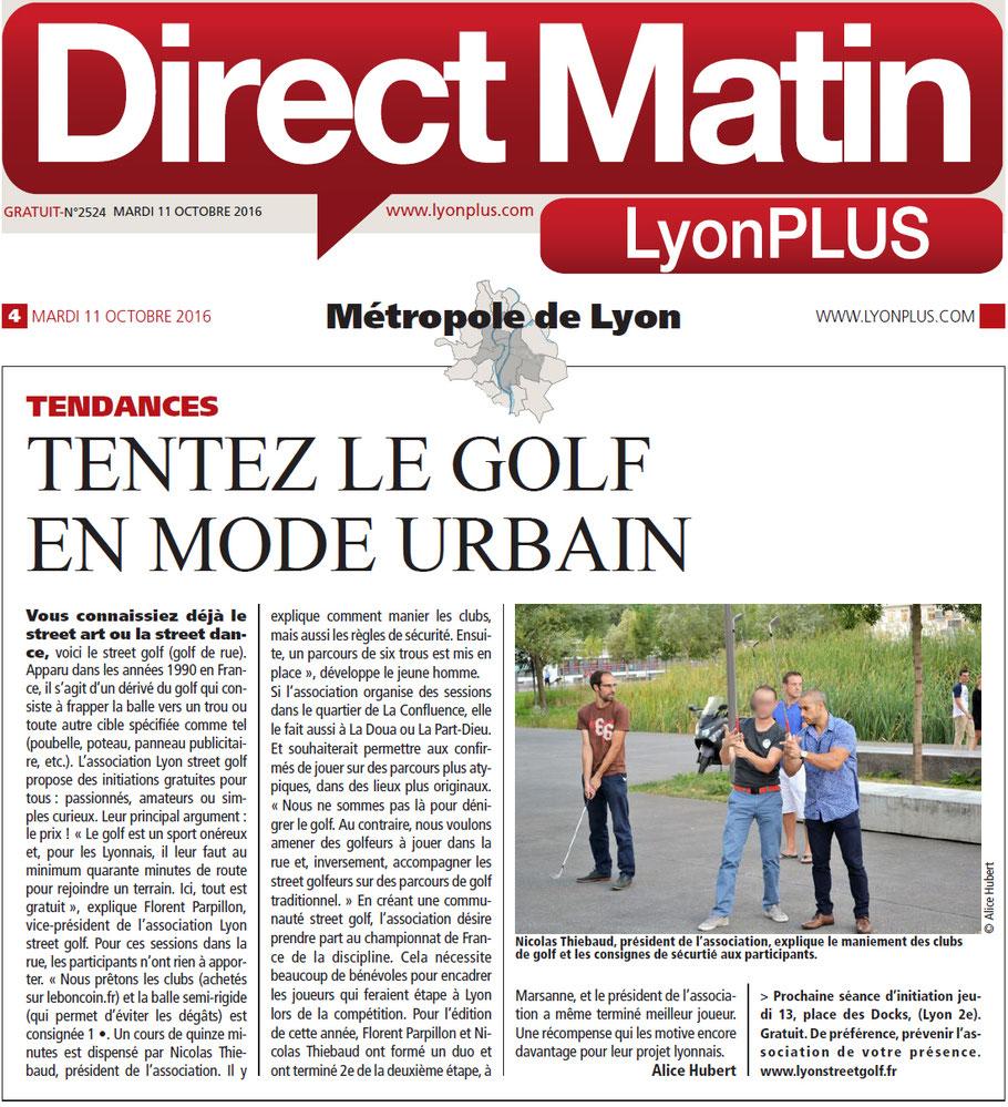 Lyon street golf article du journal Direct matin Lyon PLUS