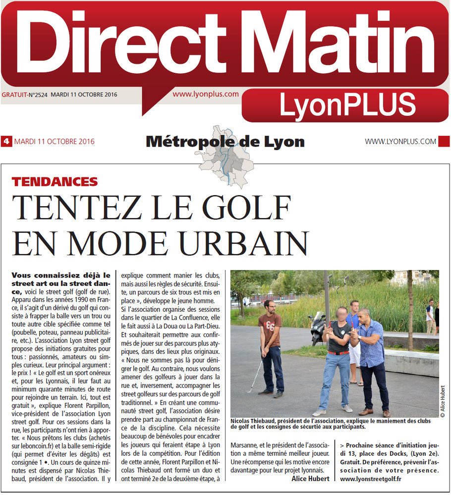 Lyon street golf article du journal Direct matin Lyon PLUS