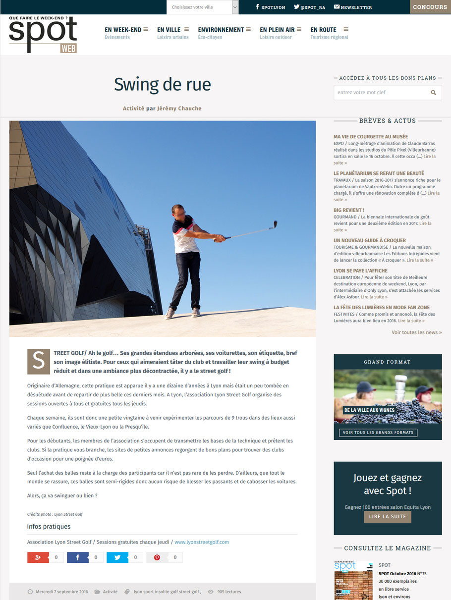 Lyon street golf article du journal SPOT LYON Septembre 2016