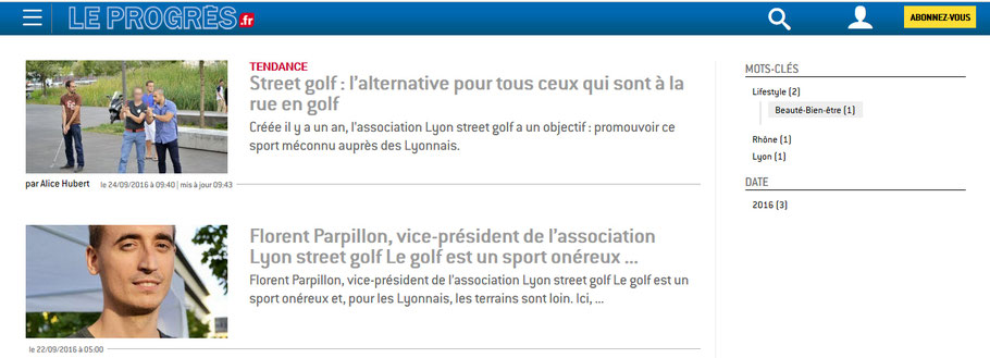 Lyon street golf article du journal Le Progrès
