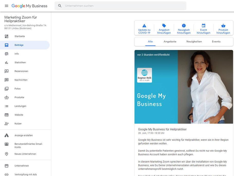 Dagmar Heib erläutert wie man in den internen Bereich von Google My Business gelangt