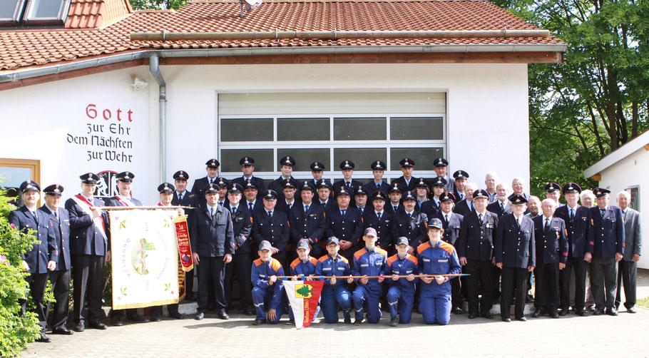 Die Freiwillige Feuerwehr Günthers mit allen Abteilungen anlässlich des 75. jährigen Bestehens in 2009