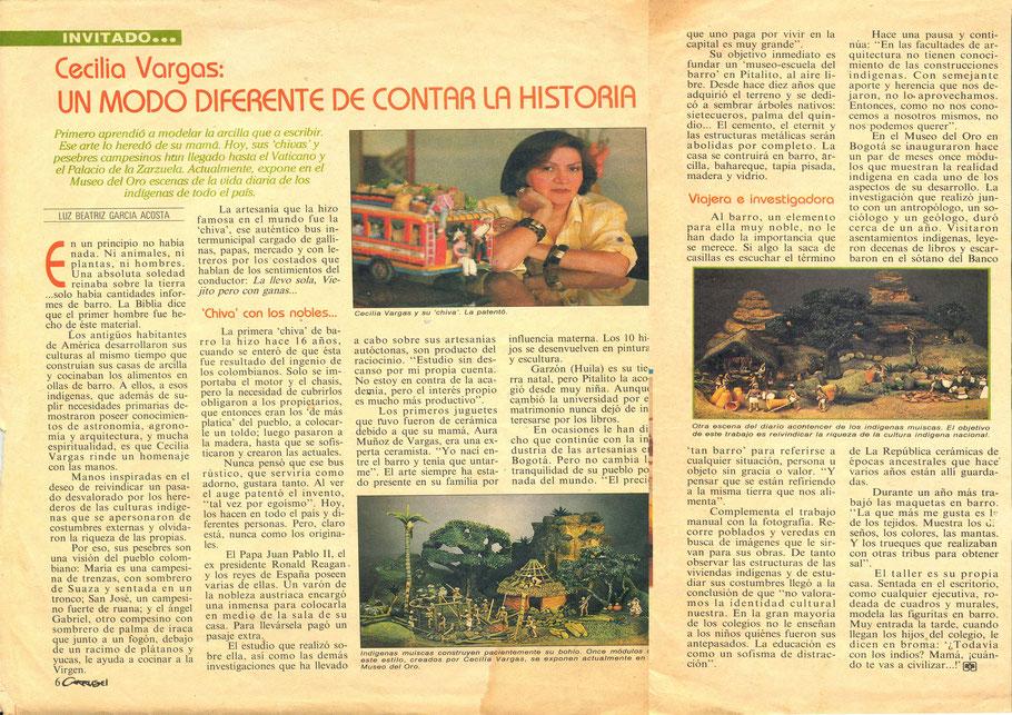 Revista Carrusel sobre Cecilia Vargas Muñoz