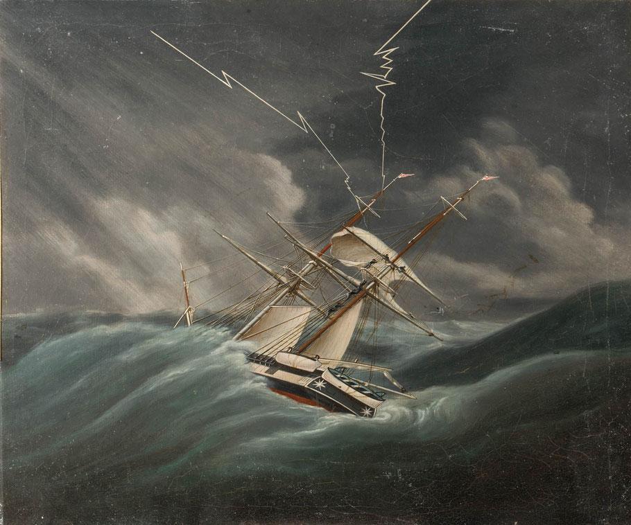 Brick anglais pris dans une tempête, des hommes serrent le grand hunier   (National Maritime Museum)