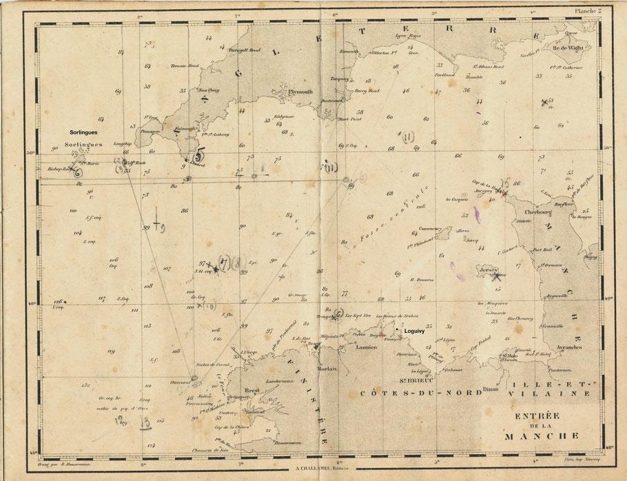 Carte de l'ouest de la Manche (cahier de cartes marines Michel Victor Floch)