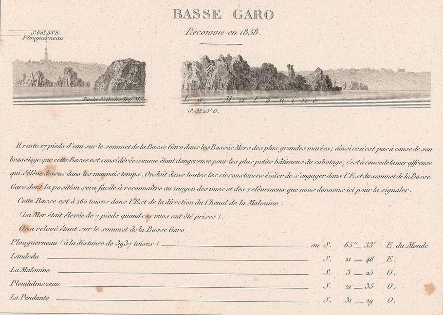 Exemple de relevés d'un danger, la Basse Garo dans le nord de l'Aberwrac'h