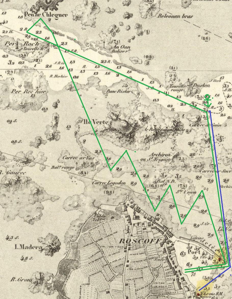 En vert la route probable de la gabare Cécile, en partant du port de Roscoff la gabare tire des bords le long de la ville. De Perroch à Kareg ar Gwin la gabare est en dérive avec ses avaries de voilure (carte SHOM 975 éd.  1887 corrections 1898)