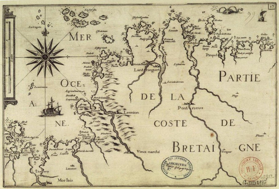 Carte de Christophe Tassin 1634, de l'isle de Bas à Benic