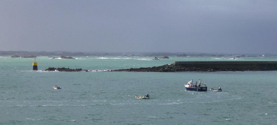 Malvoc'h et le mole de l'île de batz en février 2014 (photo Pierre-Yves Decosse)
