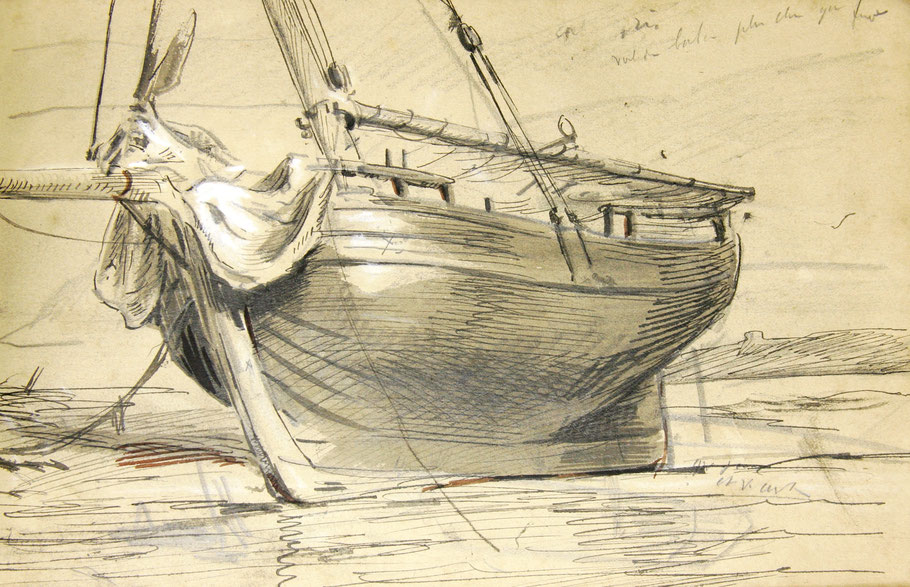 Gabare du Trieux vu de l'avant, les gabares les plus anciennes ont le pavois ajouré et l'étai en avant de l'étrave, dessin de Louis Marie Faudacq                    (Coll. AD22)