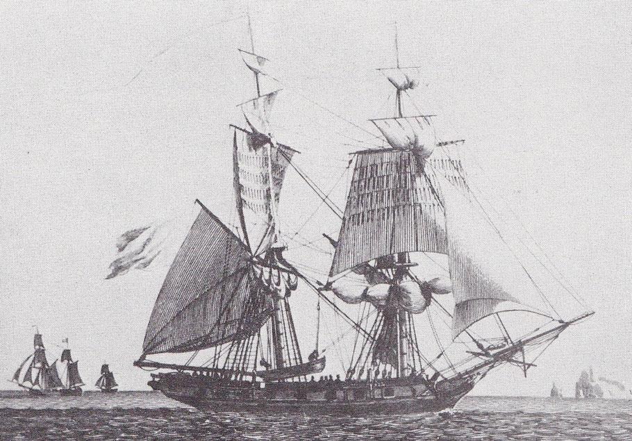 Brick de guerre de 16 caronades, en panne,  mettant son canot à la mer  (gravure de Beaujean)