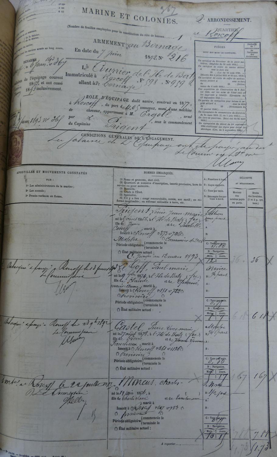 Première page du rôle d'équipage du Courrier de l'île de Batz pour l'année 1892-1893