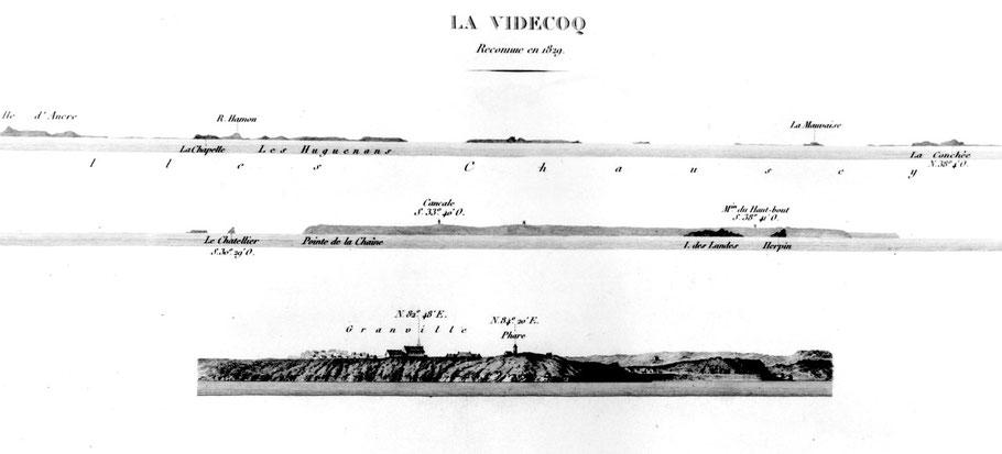 Marques du danger La Videcoq dans le sud de Chausey  le Pilote Français de Beautemps-Beaupré levé en 1829