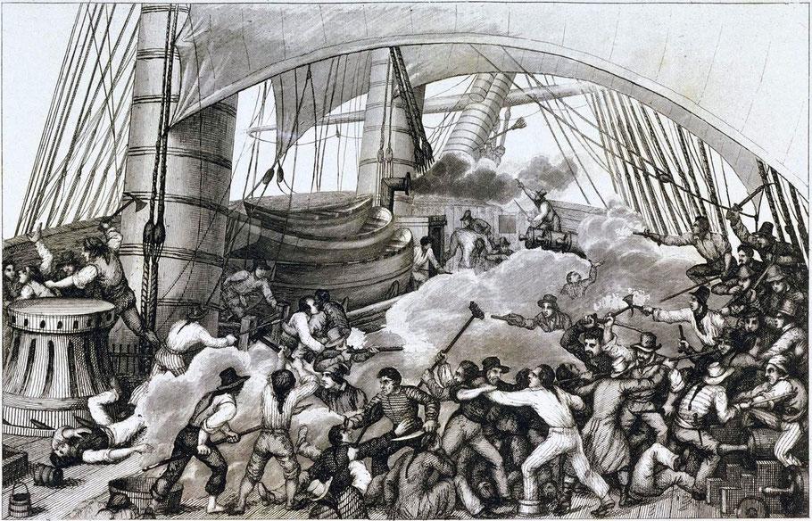 Abordage du navire anglais le Triton par le corsaire le Hasard sous l'Empire, gravure de Louis Garneray dans la France maritime d'Amedé Gréhant, on imagine bien le désordre combat en corps en corps par une nuit obscure