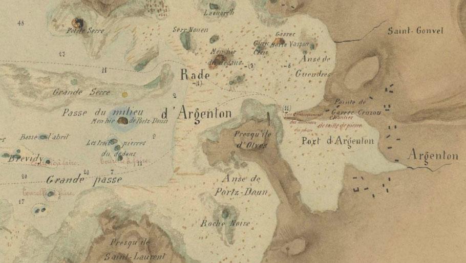 Détail de la carte précédente, avec le chantier de taille de pierres dans le port d'Argenton
