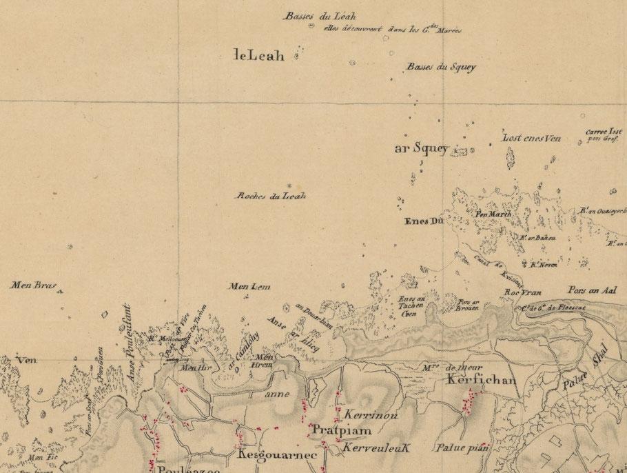 Détail de la carte des ingénieurs du roi, le mouillage de Plouescat l'anse de Ar Camlohy et sont menhir appelé maintenant Camp Louis ou ont été débarqué les blessés. les mort ont été enterré au cimetière paroissial de Plouescat