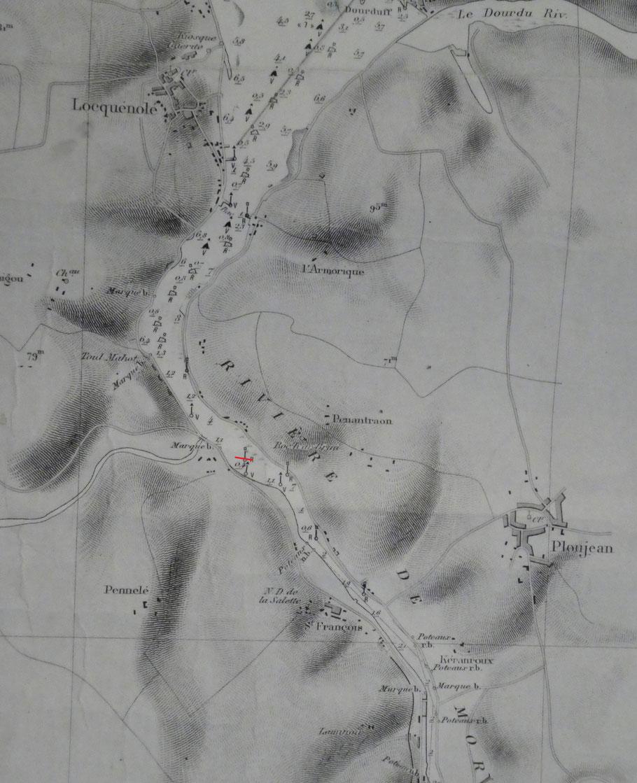 Extrait de l'ancienne carte du SHOM de la baie de Morlaix  en rouge l'emplacement  du Havrais échoué