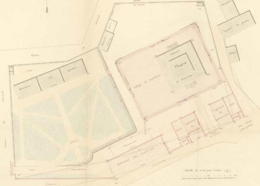 L'ensemble des bâtiments du phare suivant le plan de 1882