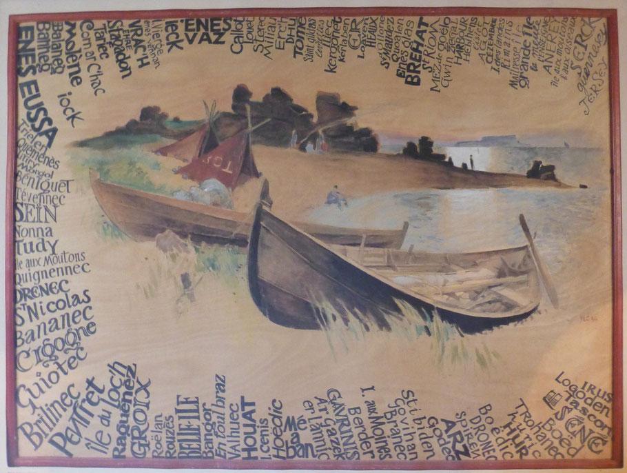 Rêve d'îles une grande fresque par Yvon le Corre, un tour de Bretagne des îles avec leur nom en breton