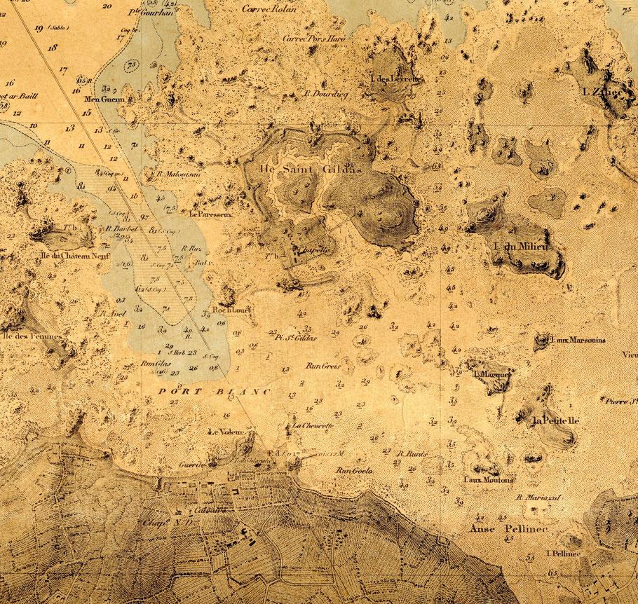 Détail de la carte des « entrées de Perros et du Port-Blanc », l'Aimable Marie-Lorinne était certainement au mouillage entre l'île du château neuf et l'île Saint Gildas